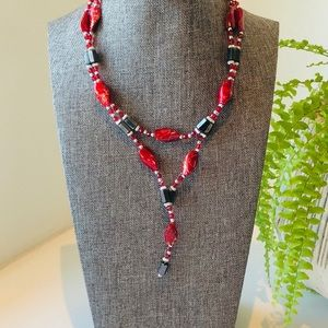 Jewelry - Hematite lariat style necklace w/ red enamel beads